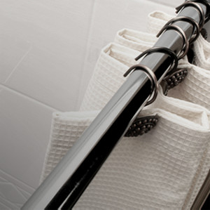 brushed steel shower curtain rod